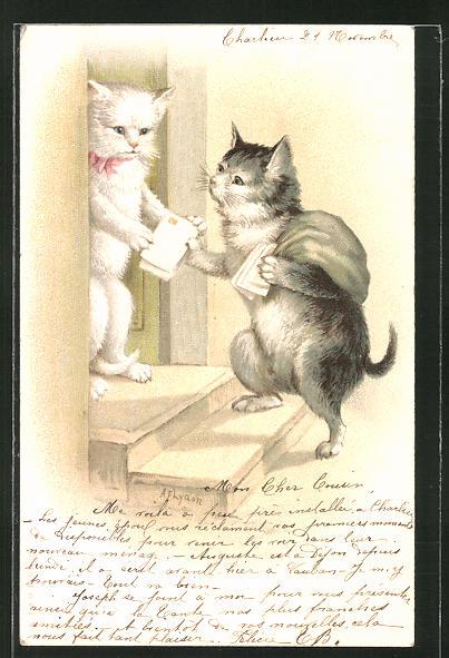 AK Katzen-Briefträger stellt die Post zu, vermenschlichte Tiere