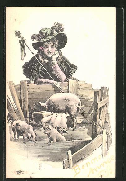 AK Dame am Schweinekoben 0