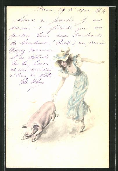 AK Dame jagt einem Schwein hinterher 0