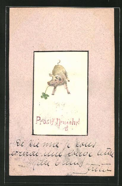 AK Neujahrsgruss, Schwein mit Glücksklee
