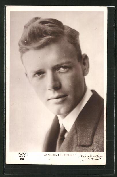 AK Portrait des Flugzeug-Pioniers Charles Lindbergh 0