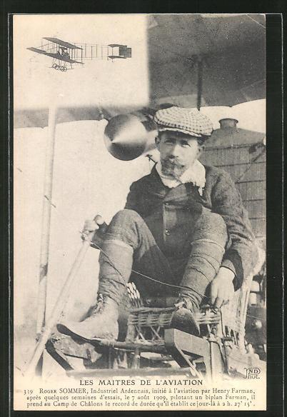 AK Flugzeug-Pionier Roger Sommer im Biplan Farman