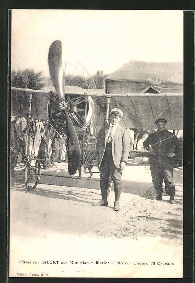 AK Flugzeug-Pionier Gibert vor seinem Monoplan