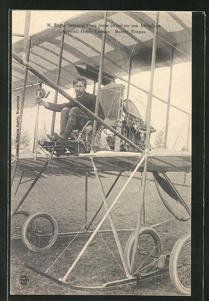 AK Flugzeug-Pionier M. Roger Sommer im Henry Farman Fluggerät 0