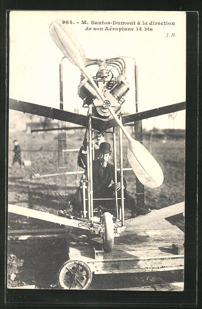 AK Flugzeug-Pionier M. Santos-Dumont in seinem Aeroplane 14 bis