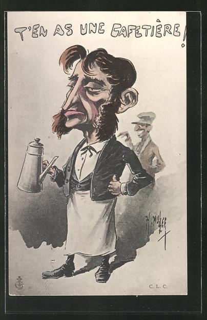 Künstler-AK sign. H. Muller: Karikatur eines Kellners