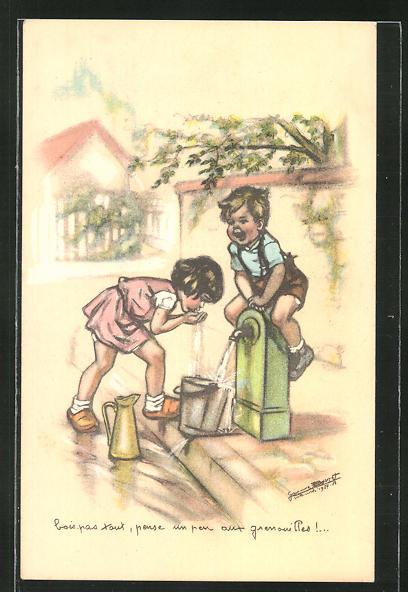 Künstler-AK sign. Bouret: Kinder trinken am Brunnen