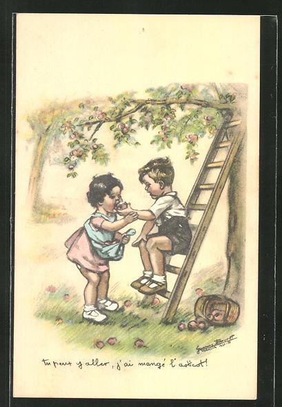 Künstler-AK sign. Bouret: Kinder pflücken Äpfel