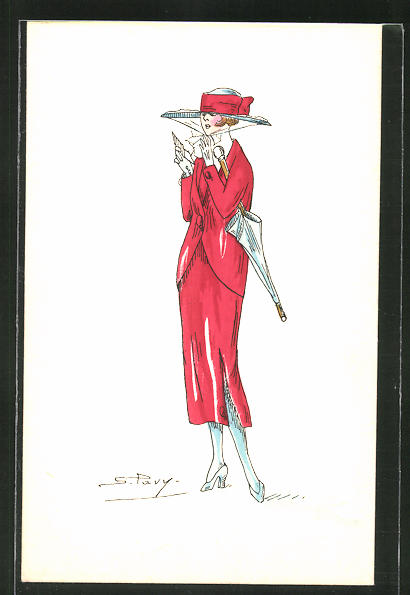 Künstler-AK sign. S. Pavy: Elegante Dame im roten Kleid