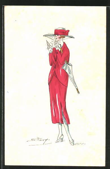 Künstler-AK sign. S. Pavy: Elegante Dame im roten Kleid mit Schirm