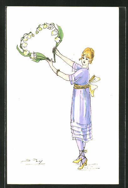Künstler-AK sign. S. Pavy: Elegante Dame formt ein Herz aus Maiglöckchen 0