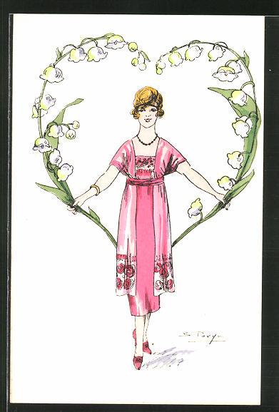 Künstler-AK sign. S. Pavy: Elegante Dame formt ein grosses Herz aus Maiglöckchen