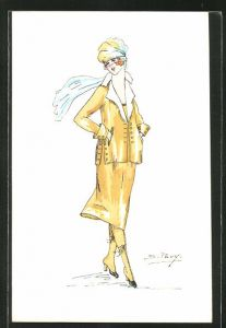 Künstler-AK sign. S. Pavy: Elegante Dame im gelben Kostüm mit Hut