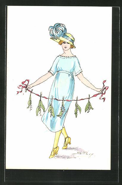 Künstler-AK sign. S. Pavy: Elegante Dame mit einer Girlande aus Maiglöckchen