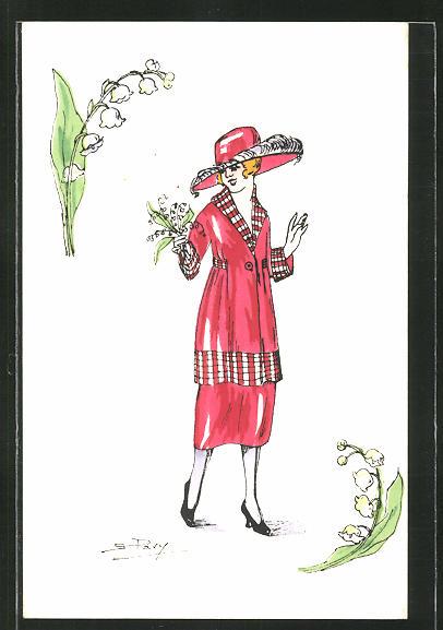 Künstler-AK sign. S. Pavy: Elegante Dame in rotem Kostüm mit Maiglöckchen