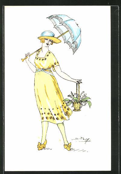 Künstler-AK sign. S. Pavy: Elegante Dame in gelbem Kleid mit Maiglöckchen
