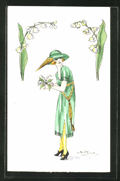 Künstler-AK sign. S. Pavy: Elegante Dame in grünem Kleid mit Maiglöckchen