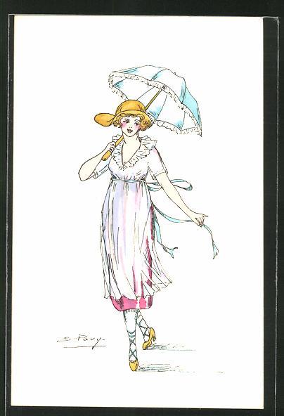 Künstler-AK sign. S. Pavy: Elegante Dame im Sommerkleid mit Schirm