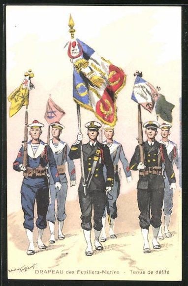 Künstler-AK Drapeau des Fusiliers-Marins, Tenue de défilé