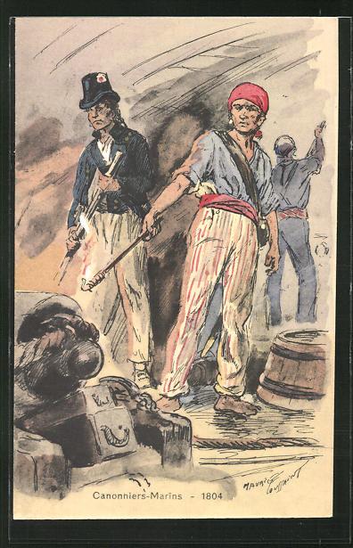 Künstler-AK Besatzungen französischer Kriegsschiffe, Cannoniers-Marins 1804