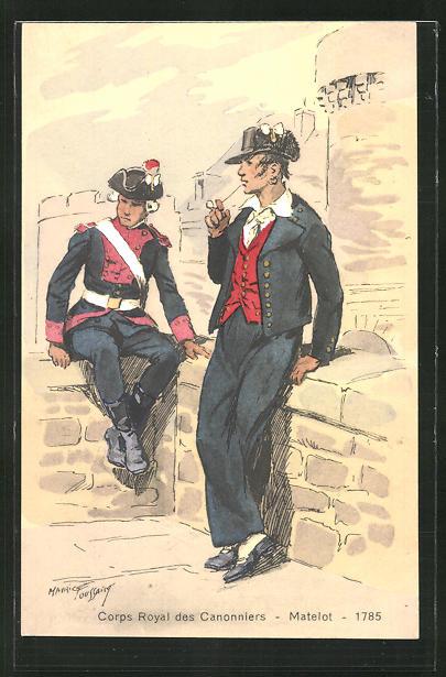 Künstler-AK Corps Royal des Cannoniers, Matelot 1785