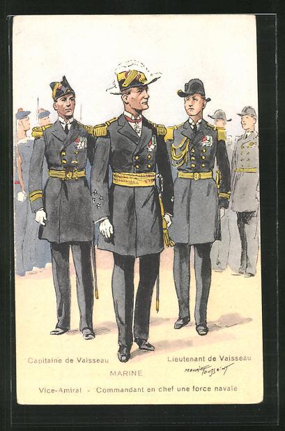 Künstler-AK Französische Marine, Vice Amiral, Capitaine de Vaisseau