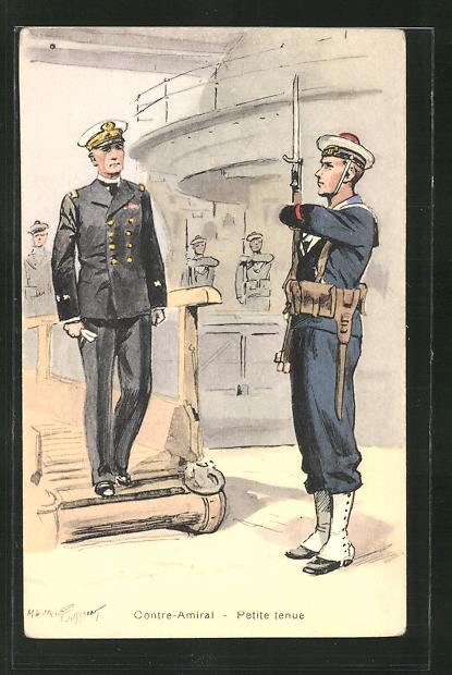 Künstler-AK Besatzungen französischer Kriegsschiffe, Contre-Amiral - Petit tenue