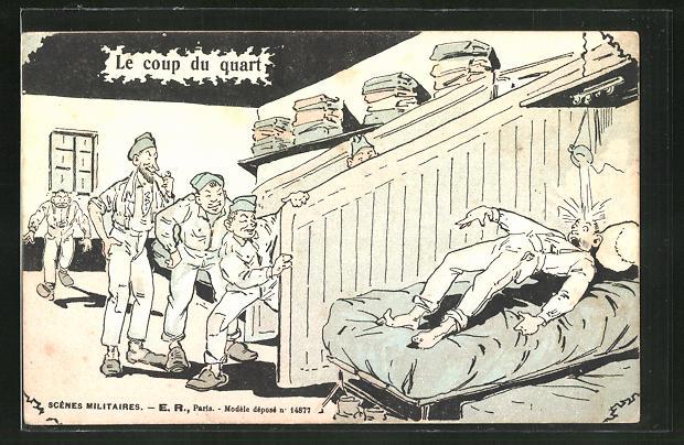 Künstler-AK Soldaten erlauben sich einen Scherz mit ihrem Kameraden 0