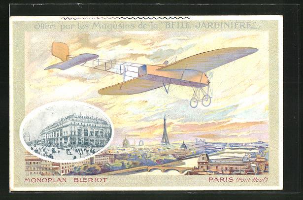 AK Paris, Blériots Flugzeug über Pont Neuf 0
