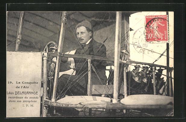 AK Flug-Pionier Léon Delagrange in seinem Flugzeug