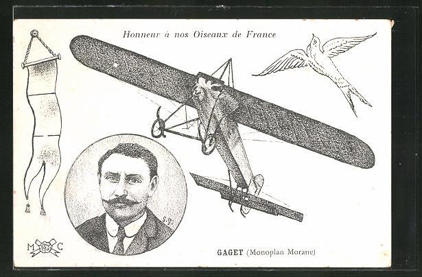 AK Flugzeug-Pionier Gaget im Monoplan Morane 0