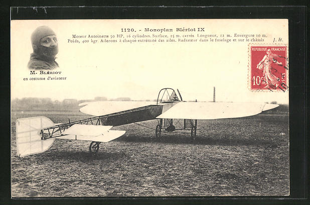 AK Flugzeug-Pionier M. Blériot auf Monoplan Blériot IX