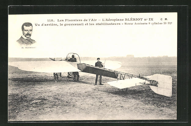 AK Flugzeug-Pionier M. Blériot und sein Aeroplane Blériot No. IX