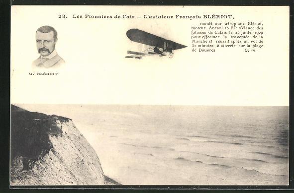 AK Flugzeug-Pionier M. Blériot in seiner Flugmaschine über einer Küste