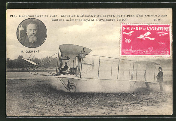 AK Flugzeug-Pionier M. Clément beim Start