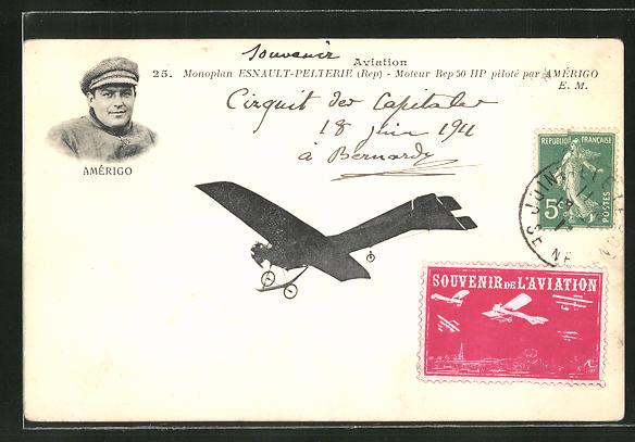 AK Flugzeug-Pionier Amérigo im Monoplan Esnault-Pelterie