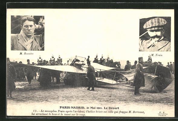 AK Paris-Madrid 1911, le Depart, Flugzeug-Pioniere M. Bonnier und M. Train vor dem Abflug 0