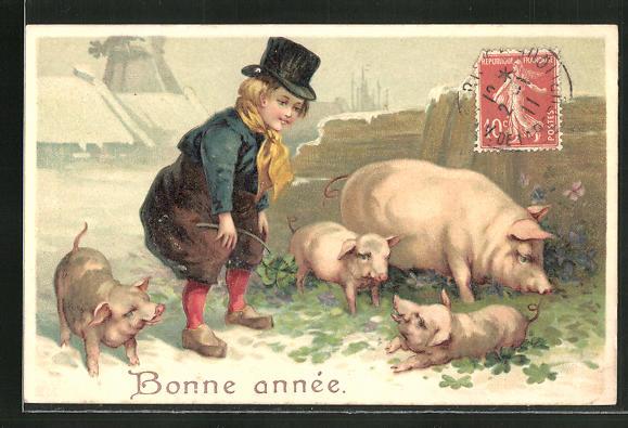 Präge-AK Knabe mit Schweinen im Klee, Neujahrsgruss