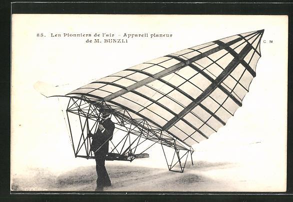 AK Flugzeug-Pioniere und ihre Maschinen, Appareil planeur de M. Bunzli
