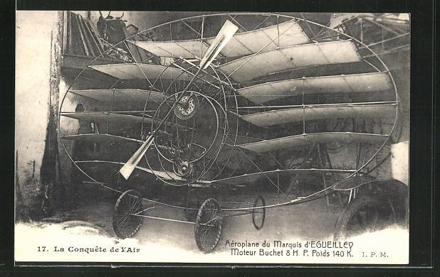 AK Flugzeug-Pioniere und ihre Maschinen, Aéroplane du Marquis d'Egueilley