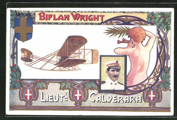 AK Flugzeug-Pioniere und ihre Maschinen, Lieut. Calderara, Biplan Wright