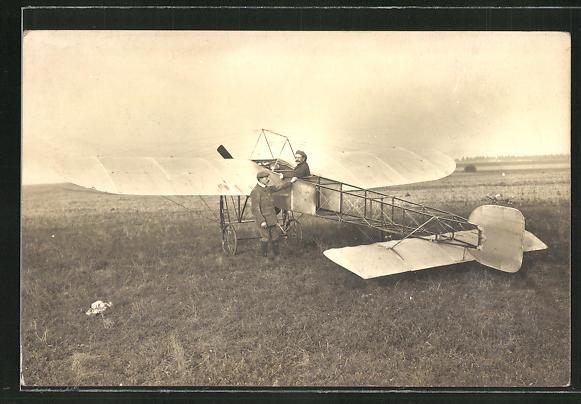 AK Flug-Pioniere mit ihrem Flugzeug