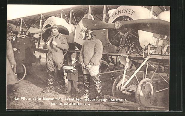 AK Flug-Pioniere vor ihrem Flugzeug Caudron G 4 vor dem Abflug nach Australien 0