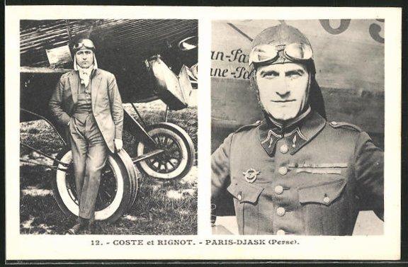 AK Flugzeug-Pioniere und ihre Maschinen, Coste und Rignot, Flug von Paris nach Djask
