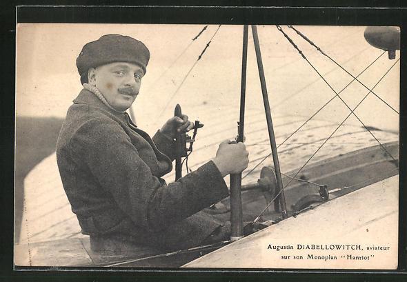 AK Flugzeug-Pioniere und ihre Maschinen, Augustin Diabellowitch im Monoplan