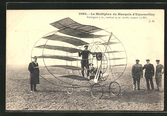 AK Frühes Flugzeug, Le Multiplan du Marquis d'Equeuvilley 0