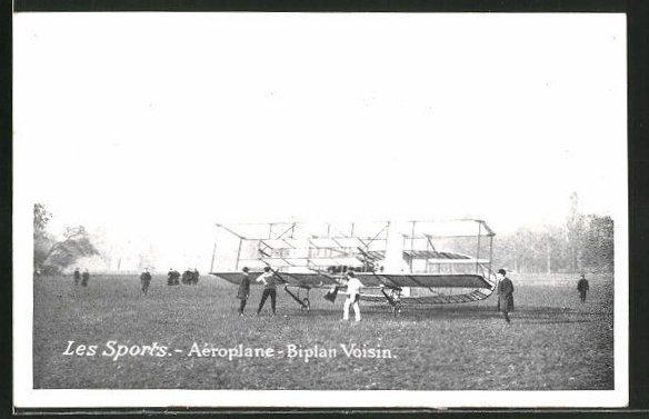 AK Aéroplane-Biplan Voisin, Frühes Flugzeug