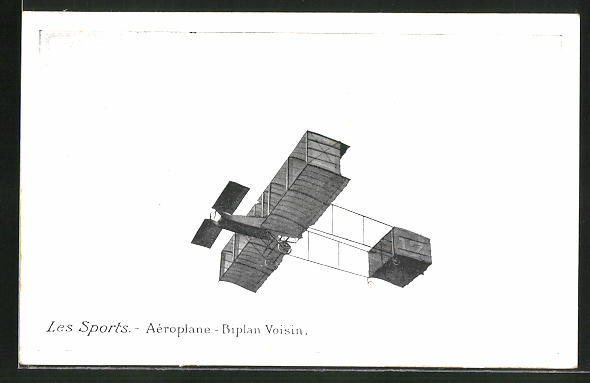 AK Les Sports Aéroplane-Biplan Voisin, Frühes Flugzeug
