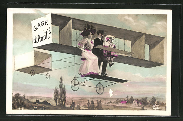 AK Gage d'Amitieé, Familie in einem frühen Flugzeug