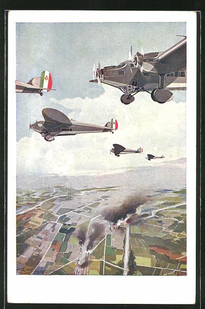 Künstler-AK sign. Ferrari: Italienische Flugzeuge bombardieren Industrieanlagen
